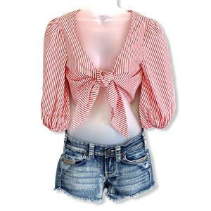 Forever 21 Red Striped Front Tie Cropped Top SM